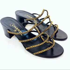Chanel Black Leather Gold Chain Heeled Sandals
